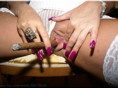 Sheilagirl - White Nylons and a Big Cigar