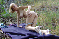 Busty Misha - Picnic in blue 2