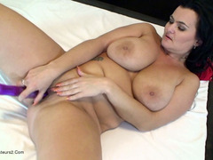Busty Reny - Purple dildo in action Video