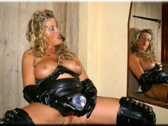 Sheilagirl - Black PVC and a BIG Dildo 2 Gallery