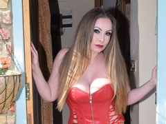 Leathettes - Sophia Delane in red hot leather Gallery